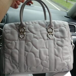 EUC· Betsey Johnson faux leather gray embossed ❤